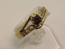 Vintage 18ct Solid Yellow Gold, Garnet & CZ Ring size N½ too good to scrap