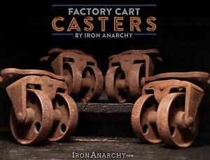 Vtg INDUSTRIAL CASTERS Antique Factory Cart Kitchen Island Cast Iron Metal Wheel