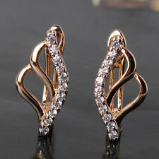 White Sapphire Hoop Earrings 18ct gold filled Topaz simulated diamond Huggie