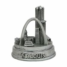 Silver 3d St. Louis Missouri Statue With Skyline and Gateway Arch 3 Inches