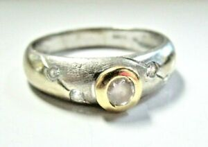 L@@K Solid 14k White Yellow Gold Ring with Clear Stones size 10.75 women