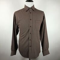 BUGATCHI UOMO Men's Large Brown Long Sleeve Button Shirt Checks Pattern