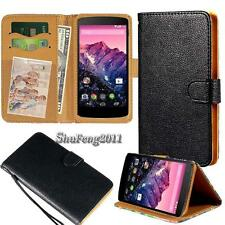 Black Flip Cover Stand Wallet Leather Case For Various Google SmartPhones +Strap