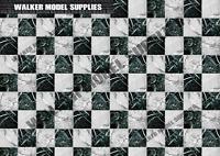 1:18 scale (3xA4) Garage marble tile floor - Peel and Apply decal /model car 12