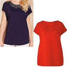 Capsule size 12 20 22 24 Cotton T Shirt Top Crochet Neck Short Sleeves Marisota