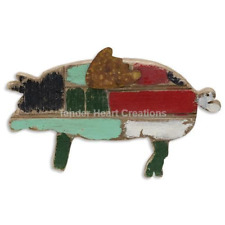 Rustic BBQ Pig Sign Wall Hanging When Pigs Fly Wood Country Primitive Farmhouse