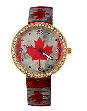 Canada Style Crystal Stretch Metal Band Watch Red Leaf Canadian Flag Watch-251
