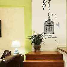 Bird cage black living bed room Wall Sticker Art Decal Reusable & Removable