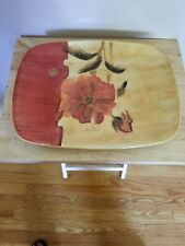 "222 Fifth Chinoiserie Cheri Blum Red Flowers on Red/Tan serving platter 14""x11"""