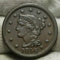 1846 Large Cent Penny, Braided Hair Penny - Nice Coin Free Shipping  (9216)