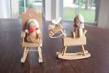 2 Vintage Russ Berrie Doll Wooden Christmas Ornaments 1978 Taiwan