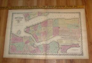 Original 1855 Colton's  Map of  New York City Taken from Atlas