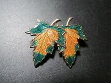 Gold Double Maple Leaf Broach Vintage Gold Tone Green &