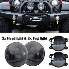 45W 7'' Headlight+30W 4'' CREE LED Fog Light+H4 to H13 Adapter For Jeep Wrangler