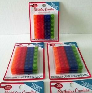 """Betty Crocker 8 Count Birthday Candles Multi-Color BUILDING BLOCKS 2.31"""" High"""