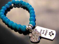 """""""Live Love Adopt"""" Charm Bracelet dangle Clear Stone Dog Paw Statement jewelry"""