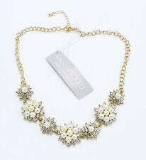 New Gold Tone Crystal Necklace with Simulated Pearls #N2677A