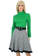 Vintage 60s 70s Mod A-LINE MINI DRESS Retro Go-Go Green Black Plaid Fringe - M