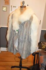 silver mink taxidermy white fox fur coat jacket 1x 2x 3x stunning & unique 58 in