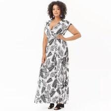 Women Floral Palm Leaf Print Sashes Plus Size Bohemian Maxi Dress Ladies Ca N7P2