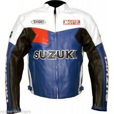 Blousons bleus longueur taille en cuir pour motocyclette
