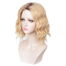 Short Blonde Ombre Black Root Curly Full Wig for Women Girls Fashion Party