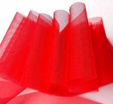 "Lot 4-Yds 2.5"" VIBRANT VALENTINE RED Sheer Chiffon Ribbon Beautiful Bargain USA"