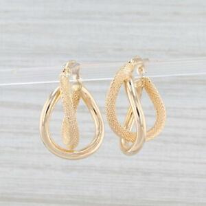 Double Interlocking Hoop Earrings 14k Yellow Gold Snap Top Pierced