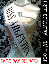 Beetlejuice inspired women's Miss Argentina Sash Halloween Fancy Dress