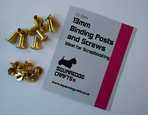 13mm CHICAGO BRASS POSTS AND SCREWS 10 PK - IDEAL FOR BINDING AND LEATHERWORK
