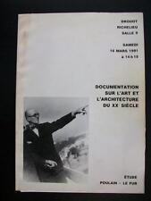DOCUMENTATION SUR L'ART ET L'ARCHITECTURE DU XXe SIECLE - DROUOT RICHELIEU 1991