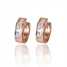 18K Rose Gold Filled CZ Hoop Earrings (E-224)