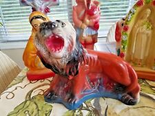 Perfect 1940's Carnival Chalkware Large Circus Lion - Colorful w/ Glitter