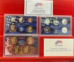 2007 PROOF SET (14 COINS) WITH STATE QUARTERS & PRESIDENTIAL DOLLARS