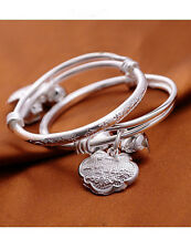 Silver Plated Baby Blessing Bell Adjustable Bangle Braclet - Baby Jewelry