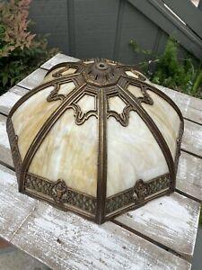 Bradley & Hubbard Mfg Brass Slag Glass Panel Lamp Light Shade Table or Hanging