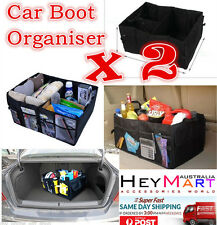 2xNEW Collapsible Foldable Car Boot Organiser Shopping Car Storage Organizer Bag