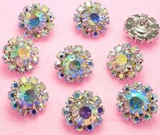 8 Sparkling AB Rainbow Crystal/Glass/Rhinestone Metal Shank Buttons #S573
