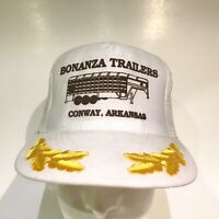 Vintage Bonanza Trailers Trucker Hat Oak Leaves Snapback Mesh Cap White Gold