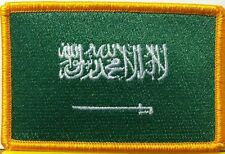SAUDI ARABIA Flag Embroidered Iron-On Patch Military Tactical Emblem Gold Border
