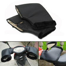 2PCS Handle Bar Grip Gloves Motorcycle Winter Protection Gear Leather&Plush Muff