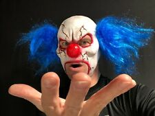 Scary Evil Clown Mask Open Mouth Blue Hair Halloween Horror Costume Accessory IT