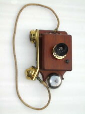 ANTIQUE  PORTABLE LINESMAN BRASS WOODEN VINTAGE ELECTRIC BELL TELEPHONE PHONE