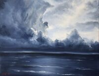 Original Ocean Oil Painting On Canvas Blue Stormy Clouds Seascape 8x10 canvas