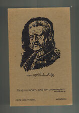 Original Mint Wood Block postcard Germany General Paul Von Hindenburg Uniform