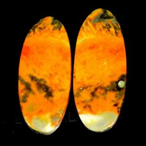 15.00Cts 9X21X5mm 100% Antique Natural Bumble Bee Jasper Oval Pair Cab Gemstone