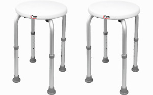 Case of Two - CAREX FGB60011 Compact Round Shower Stool For Narrow Tubs