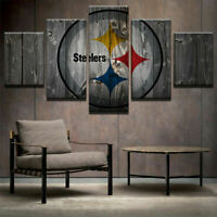 Pittsburgh Steelers Retro 5 Pieces Painting Printed Canvas Wall Art Home Decor
