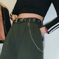 Punk Metal Belt Faux Leather Harness Chain Ring Garter Waist Strap Dance