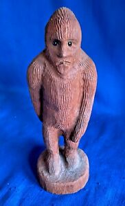 Vintage 1960s Carved Wood Wooden Carving Sasquatch Yeti Big Foot Folk Art Figure